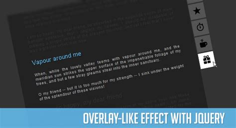 website tutorial overlay overlay like effect with jquery