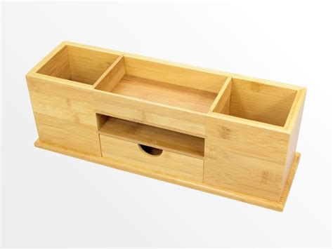 Office Desk Tidy Desk Tidy With Drawer Wide Stationery Organiser Bamboo Wood Ebay