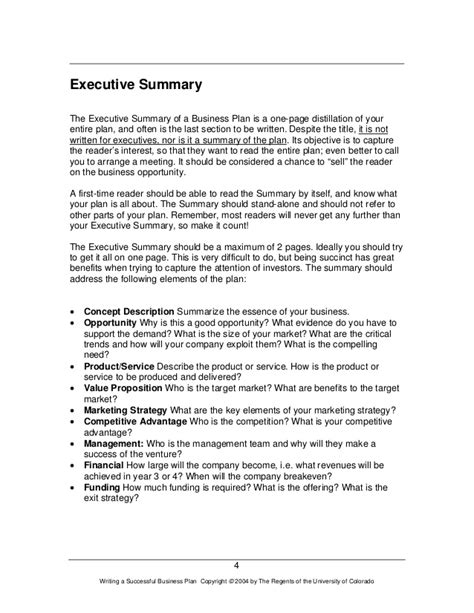 Executive Summary Business Plan Exle Business Plan Template Executive Summary Template For Business Plan