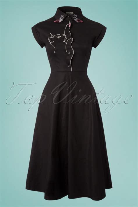 Dress Meow Black To 50s meow swing dress in black