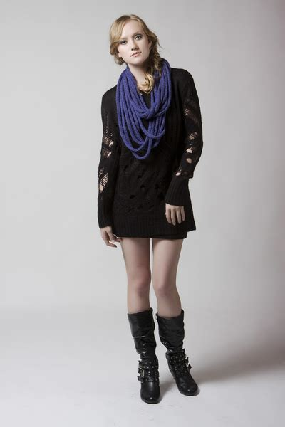2009 Nov 6769 Liona Tunic blue denada scarves black mink pinks quot denada eternal knit scarf and mink pink tunic quot by