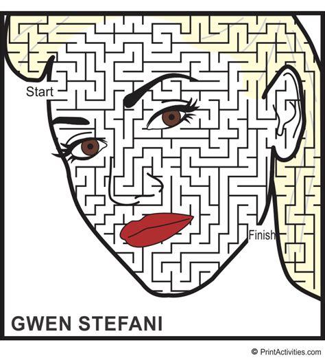 printable music maze gwen stefani maze a maze ing celebrity face maze