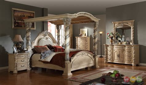 canopy bedroom sets for castillo de cullera canopy bedroom collection antique white finish