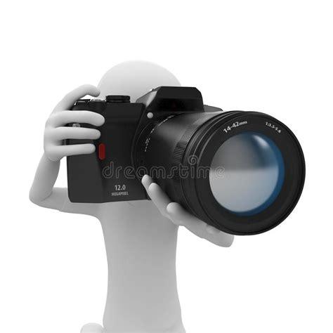 clipart uomo uomo 3d con la macchina fotografica di dslr illustrazione