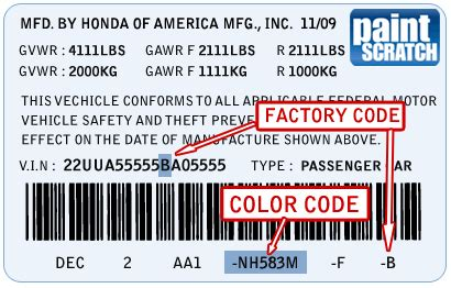 honda color codes honda touch up paint color code and directions for