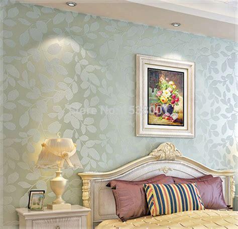 elegant  woven light blue leaf embossed wallpaper warm