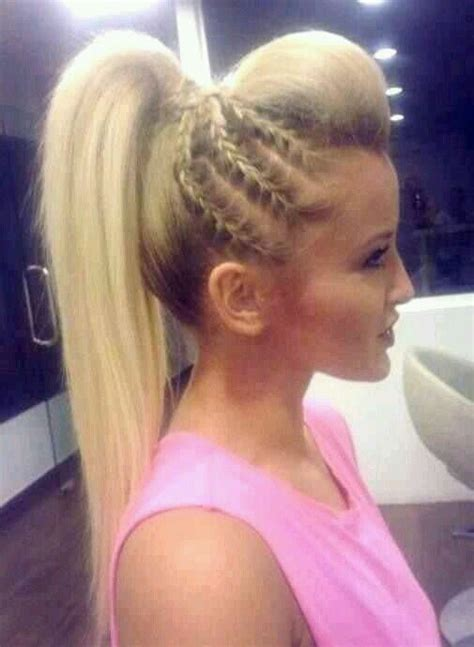 cute hairstyles with remy bump it hair high pony tail with a bump and braids on the side cute