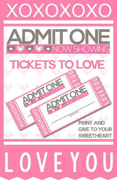 free printable valentine tickets 17 best images about celebrate valentine s day on