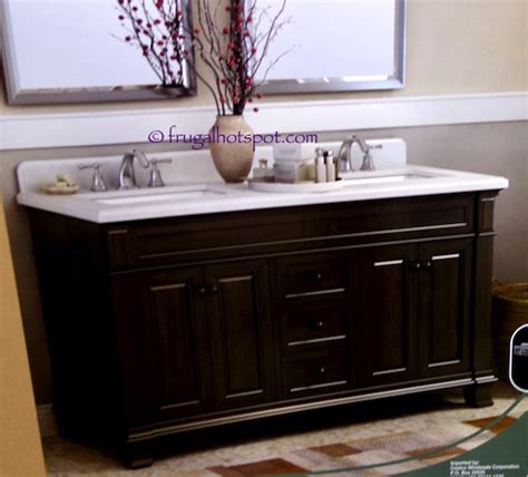 costco 60 wood vanity with porcelain sink 799 99