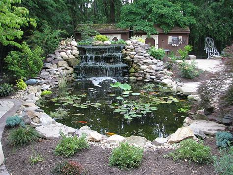 backyard ponds and fountains pittsburgh koi pond waterfall outdoor fountains