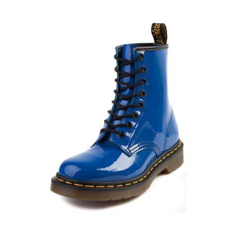 blue boots womens dr martens 8 eye boot blue patent journeys shoes