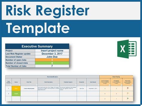 risk assessment register template project management documents templates tools