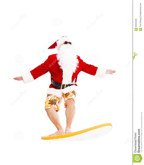 santa claus surfing with surf board stock photo image
