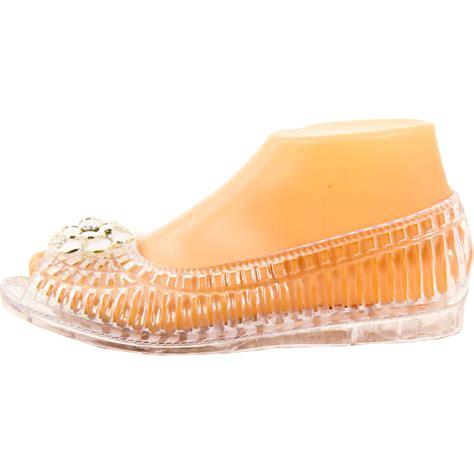 jelly flats shoes womens open toe jelly ballet flats shoe sandal clear