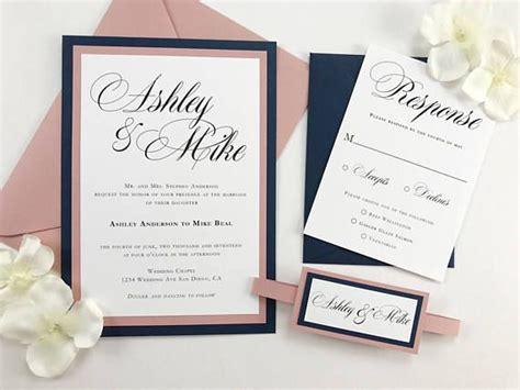 Mauve And Navy Wedding Invitations