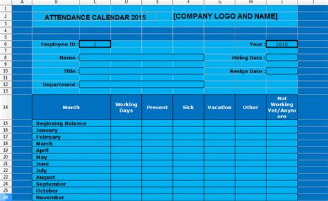 employee attendance calendar template search results for 2015 annual employee attendance