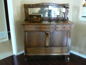 Antique Oak Buffet w/ Leaded Mirror   Gentle Hands