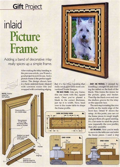 woodworking picture frame plans inlaid picture frame plan woodarchivist