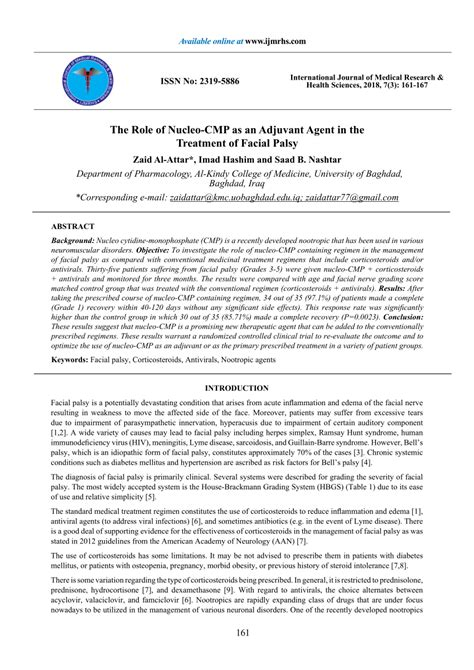 (PDF) The Role of Nucleo-CMP as an Adjuvant Agent in the