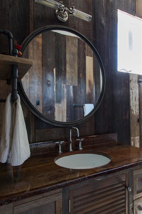 round bathroom mirror with lights bathroom light wood rustic bathroom mirror frame on the
