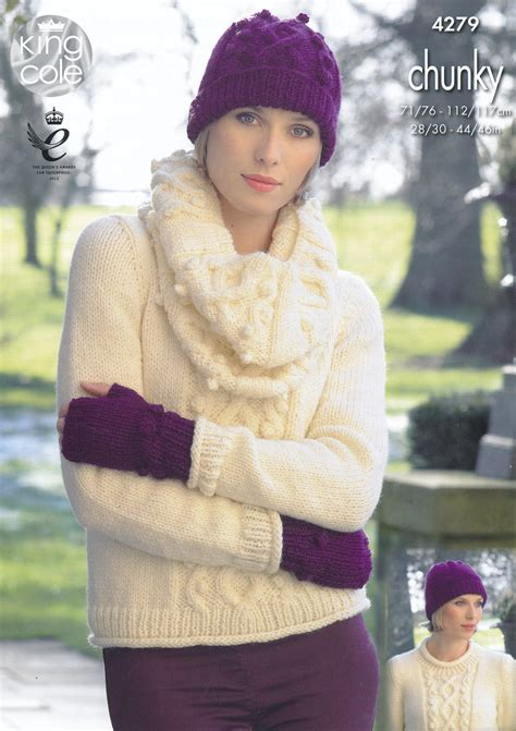knitting pattern for hat scarf and gloves womens chunky knitting pattern king cole jumper hat scarf