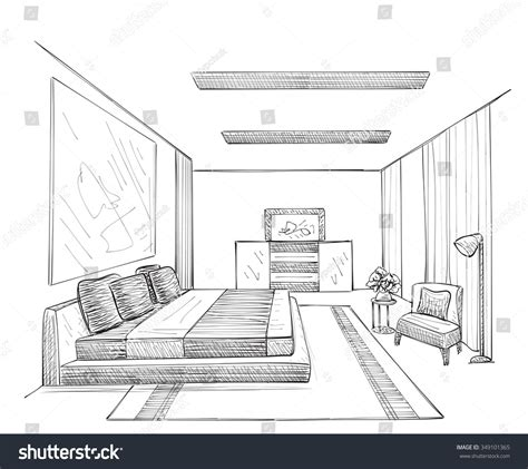room sketch free room interior sketch stock vector 349101365
