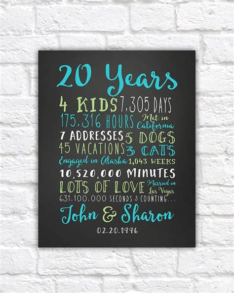 Wedding Anniversary Gift For Parents by 20th Anniversary Gift 20 Year Wedding Anniversary