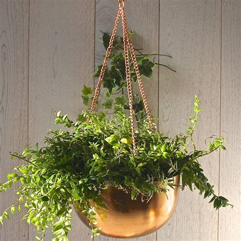 copper hanging bowl planter by london garden trading