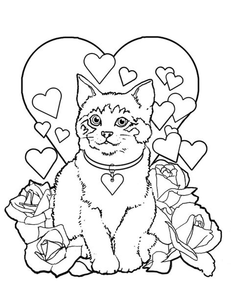 cat valentine coloring pages valentine day cats printable
