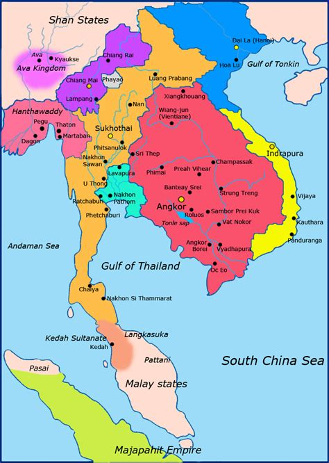 political map of southeast asia the four capitals of thailand thai language