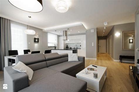 nowoczesny salon apartament saska duży salon z kuchnią z jadalnią styl