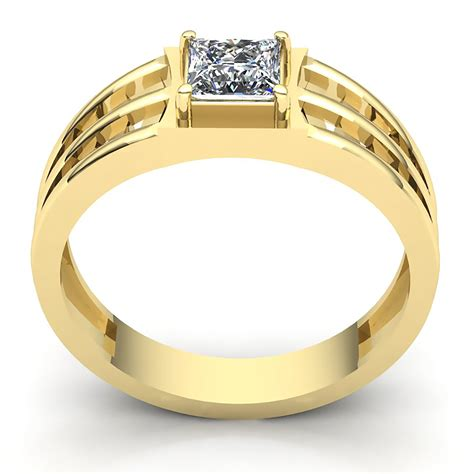 solitaire mens diamond ring princess cut diamond mans 0 5ctw princess cut diamond mens classic solitaire wedding