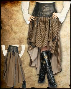 steampunk long black brown stripe corset skirt intrepid