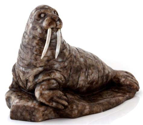 Genuine Russian Painted Santa On Brown Walrus Fi walrus figurine shop collectibles daily