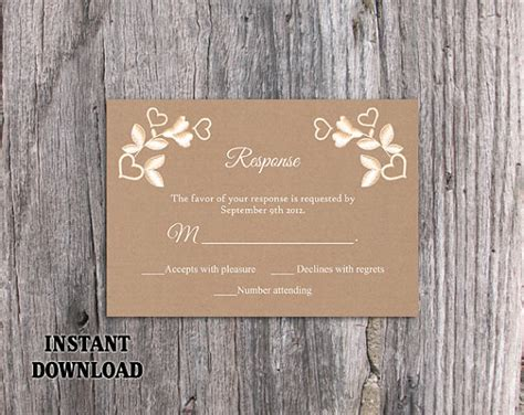 Rustic Rsvp Card Template Free by Diy Lace Wedding Rsvp Template Editable Word File Instant