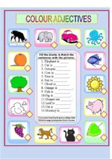 are colors adjectives teaching worksheets colours