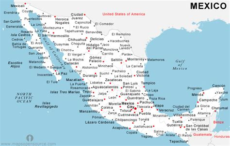 map of mexico and cities mexico map cities and states