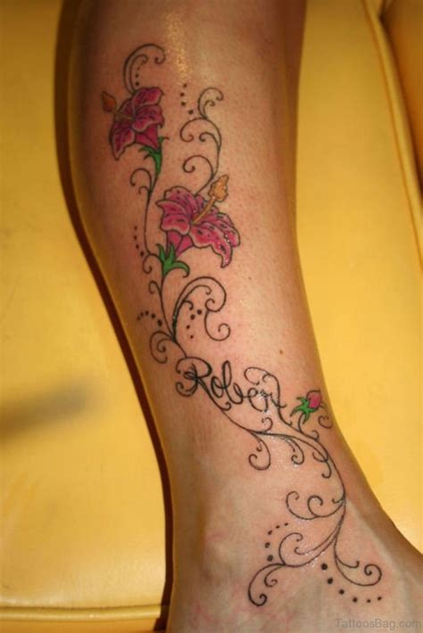 flower with name tattoo designs 50 best flower tattoos on leg