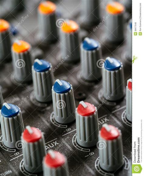 Soundboard Knobs by Recording Studio Mixer Knobs Royalty Free Stock Photos