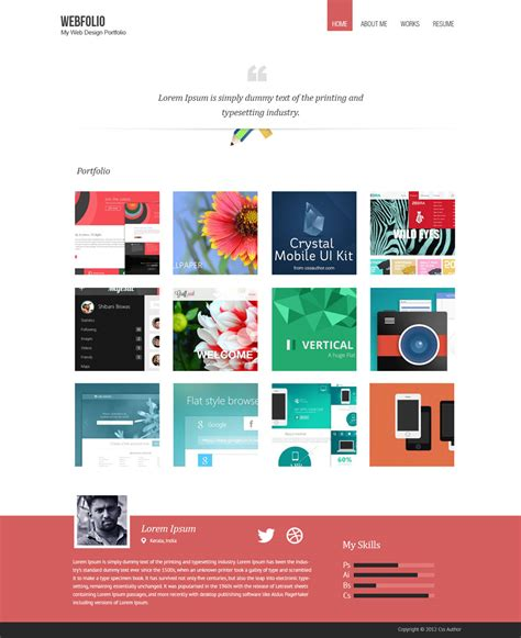 Portfolio Template by Free Portfolio Website Templates Psd 187 Css Author