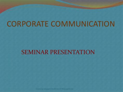 Corporate Communication Notes For Mba by Corporate Communication Mba Note