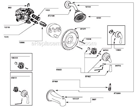 Kitchen Faucet Handle Adapter Repair Kit Moen T3132 Parts List And Diagram Ereplacementparts Com