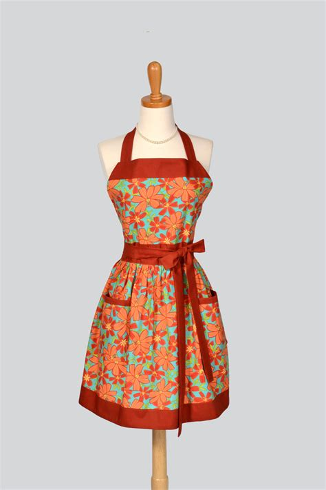 womens bib apron retro womens handmade kitchen apron