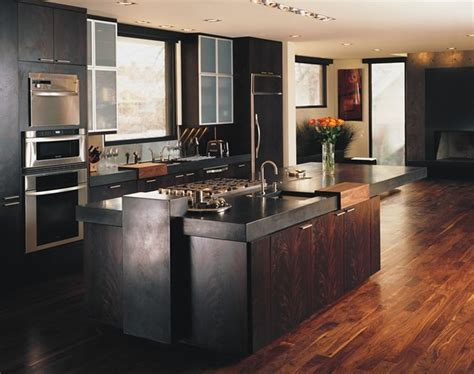 Concrete Countertops Black by Black Concrete Countertops With Walnut Floors