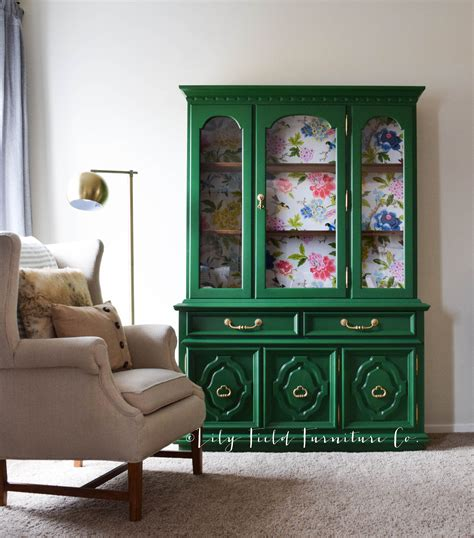 Green Furniture green china cabinet makeover country chic clover