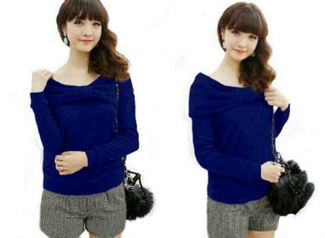 Baju Atasan Warna Biru baju atasan pita wanita cantik model terbaru murah