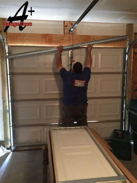 Garage Door Bottom Panel Replacement Garage Door Repair Of Door Hit By Car A Plus