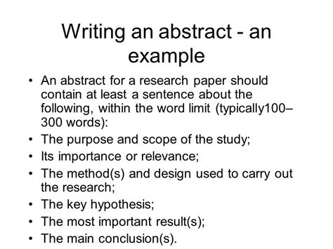 how to write an abstract for a research paper scientific research paper abstract exles