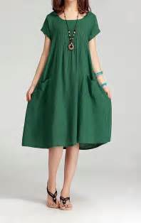 grass green women cotton linen long dress casual skirt