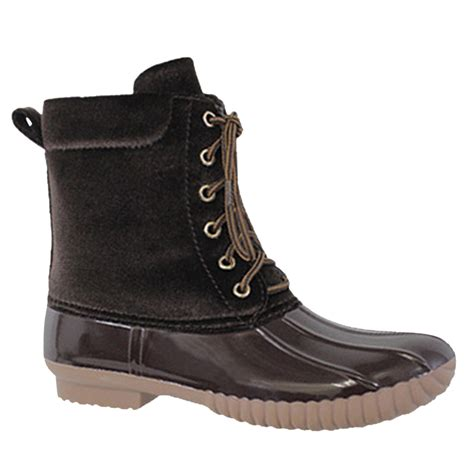 high heel duck boots yoki s lace up two tone ankle high duck boots